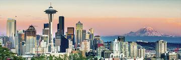 Seattle skyline and Mount Rainier views at sunset