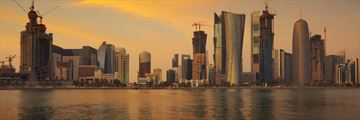Doha skyline at sunset