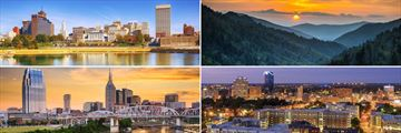 Clockwise from top left: Memphis skyline, Smoky Mountains, Lexington and Nashville