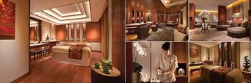 Shangri-La Hotel, (clockwise from left): CHI The Spa Couples Treatment Room, Reception, Relaxation Room, Singles Treatment Room and Spa Therapist