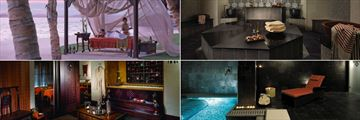 Shangri-La Qaryat al Beri, (clockwise from top left): CHI, The Spa - Outdoor Spa Treatment, Hammam, Relaxation Area & Vitality Pool and Couples Treatment Room