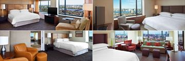 Sheraton Boston, (clockwise from top left): Beacon Hill North Tower King Room, Executive Suite, Cambridge Suite and Presidential Suite