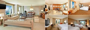 Sheraton Grand Chicago, (clockwise from left): Ambassadors Suite, Ogden Suite, Grand Deluxe Room, Double Guest Room and Deluxe Guest Room