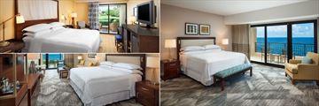Garden View Room, Deluxe Oceanfront Suite and Luxury Oceanfront Room at Sheraton Kauai