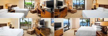 Sheraton Maui Resort, (clockwise from top left): Resort View Room, Ocean View Room, Deluxe Ocean Suite and Partial Ocean View Room
