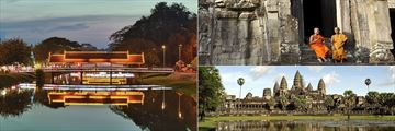 Siem Reap River, Buddhist Monks & Angkor Wat, Cambodia