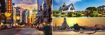 Bangkok; China Town, Sanphet Prasat Palace, Wat Arun across, Chao Phraya River