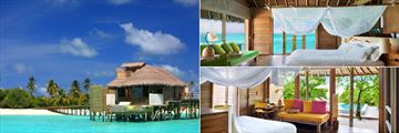 Six Senses Laamu, (clockwise from left): Laamu Water Villa, Laamu Water Villa with Pool and Ocean Beach Villa with Pool