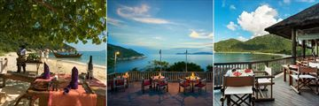 Six Senses Ninh Van Bay, Private Beach Dining, Dining by the Rocks and Dining by the Bay