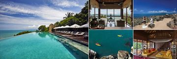 Six Senses Samui, (clockwise from left): Main Pool, Spa Treatment Room, Yoga on the Rocks, Library and Kayaking