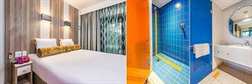 Sun City Cabanas, Twin Lake Facing Room and Twin Lake Facing Room and Standard Room Bathroom
