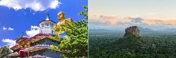 Temple in Dambula and Sigiriya Rock landscape, Sri Lanka