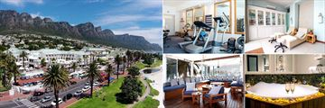 The Bay Hotel, (clockwise from left): Resort and The 12 Apostles Mountain Range, Gym, Mint Wellness Spa, Spa Bath and Sandy B Private Beach Club