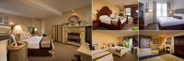 Cape Codder Resort, (clockwise from left): Chatham Suite, Courtyard King, Standard Room, Fireplace Room and Courtyard Double Room