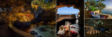 The Caves, (clockwise from left): Private Dining in the Cave, The Sands Terrace, Blackwell Rum Bar