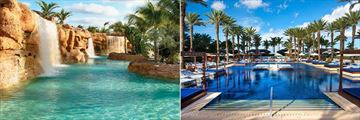 Pool with Waterfalls and Pool with Sun Loungers at The Cove Atlantis