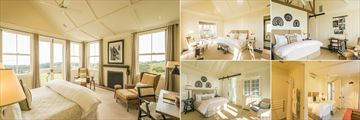 The Farm at Cape Kidnappers, (clockwise from left): Owner's Cottage Bedroom, Lodge Suite, Ridge Suite, Hilltop Family Suite Kids' Bedroom and Hilltop Suite