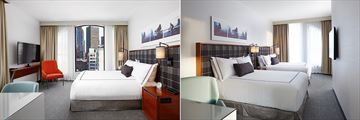 King Room and Double Queen Room at The Godfrey Hotel Boston