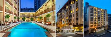 The Handlery Union Square Hotel, Heated Outdoor Pool, Hotel Front Entrance and Hotel Car Park Entrance