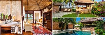Enjoy beautiful villas with a courtyard (top right) or private pool (bottom right), at The Oberoi Lombok