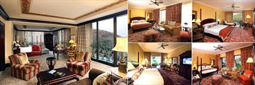 The Palace of the Lost City, (clockwise from left): Royal Suite, Superior Luxury Room, Superior Suite, Luxury Room and Twin Luxury Room