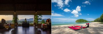 The main lounge and beach at The Pavilions Phuket