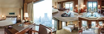The Peninsula Bangkok, (clockwise from left): Superior Room, Grand Deluxe Room, Grand Balcony Room, Deluxe Suite and Grand Terrace Suite