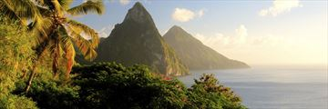 The Pitons at sunset