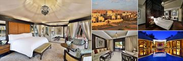 The Ritz-Carlton, Ras Al Khaimah, Al Wadi Desert, (clockwise from left): Tented Pool Villa, Resort Exterior, Rimal Enclosed Villa Bedroom, Al Sahari Pool Villa and Al Rimal Pool Villa