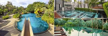 The Slate, Phuket, Family Pool, Fountain Bensley Suite Pool and Infinity Pool with Sun Loungers