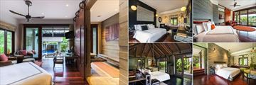 The Slate, Phuket, (clockwise from left): Pool Suite, Black Tie Bedroom, Bensley Bedroom, Botanica Foliage Bedroom and One Bedroom Private Pool Villa