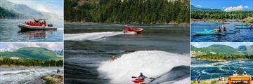 The West Coast Wilderness Lodge, Zodiac Adventures, Kayaking on Skookumchuck Rapids, Kayaking on the Inlets and Views Overlooking Skookumchuck Rapids