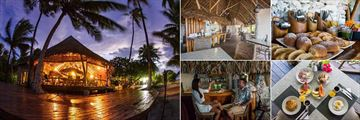 Tikehau Ninamu Resort, Restaurant at Night, Breakfast Area, Breakfast Bread and Rolls, Breakfast Dishes and Cocktails in the Bar