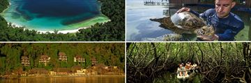 Gaya Island; Sabah, Marine Centre, Mangrove Kayaking, Resort exterior (shown clockwise)