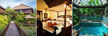 Hotel Tugu Bali; Le Mayeur Bridge, Kampong Suite, Walter Spies Pavillion Plunge Pool