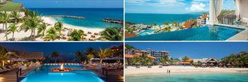 Sandals Grenada; Beach, Sky pool Suite; Beach lookign onto resort; Firepit