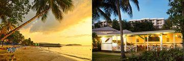 St James Club Morgan Bay, beach at sunset and restaurant