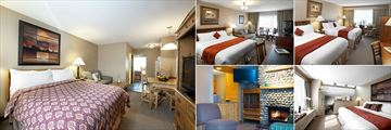 Tonquin Inn, (clockwise from left): Family Kitchenette Suite, Standard Room King Bed, Standard Room Two Queen Beds, Junior Suite and Two Bedroom Executive Suite