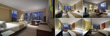 Traders Hotel Kuala Lumpur, (clockwise from left): Executive Room, Twin Towers View Room, City View Suite, Garden View Room and Deluxe Room
