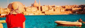 Traveller overlooking Valletta, Malta