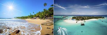 Tropical beach in Sri Linka and a Maldives island