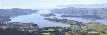 View of Lyttelton Harbour of Christchurch, South Island