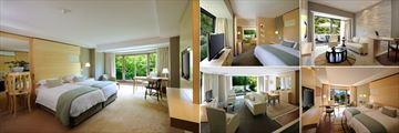 Vineyard Hotel, (clockwise from left): Courtyard Deluxe Room, Francois Suite Bedroom, Garden Junior Suite, Mountain Deluxe Room and Francois Suite Living Room