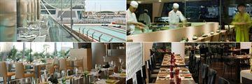 W Abu Dhabi, Yas Island, (clockwise from top left): Origins Restaurant with race track views, Kazu Sushi Bar, Noodlebox Restaurant and Amici Restaurant