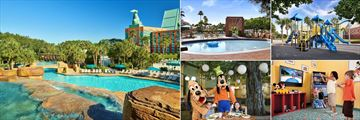 Walt Disney World Swan, (clockwise from left): Grotto Pool, Kids Pool, Kids Play Area, Camp Dolphin and Garden Grove