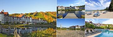 The Westin Trillium House, Blue Mountain Resort, (clockwise from left): Resort in Autumn, Resort & Jetty, Resort's Private Beach, Pool and Outdoor Activities