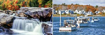 White Mountains waterfalls and Maine fishing boats