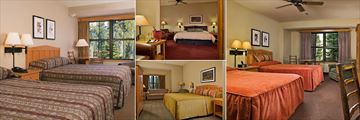 Wuksachi Lodge, (clockwise from left): Deluxe Two Bed Room, Superior Room, Deluxe Two Bed Room and Deluxe King Room
