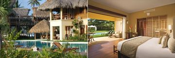Serpentine Pool and Romantic/Junior Suite Agua Swim Up Suites Exterior and Romantic Junior Agua Swim Up Suite at Zoetry Agua Punta Cana