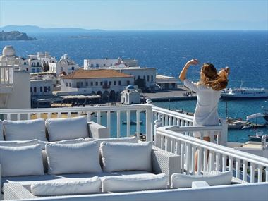 Veranda views at Petasos Town Hotel